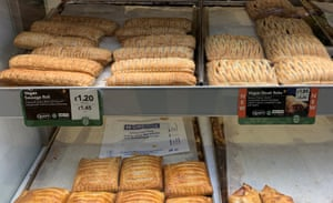 Vegan sausage rolls and steak bakes on sale in a Greggs bakery
