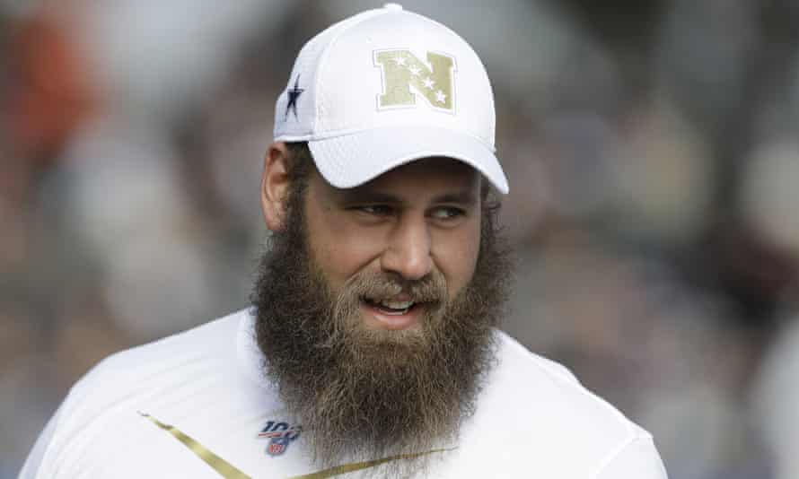 Travis Frederick at a practice session during the 2020 Pro Bowl
