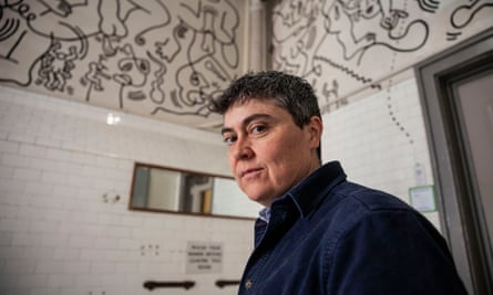Andrea Lawlor in a gay community centre in New York painted by the late artist Keith Haring