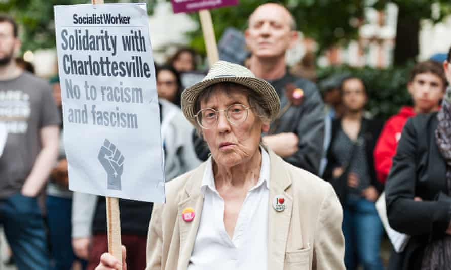 Demonstrators in London stand in solidarity with Charlottesville, Virginia, after an attack over the weekend killed a women who was protesting a neo-Nazi rally.