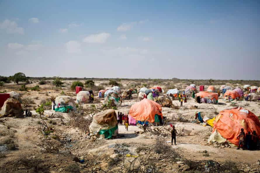 View of a settlement for people displaced by drought in Galkayo, Somalia in 2018.