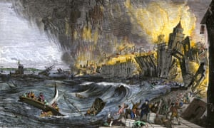 A painting of the earthquake and tidal wave causing destruction of buildings in Lisbon in 1755.