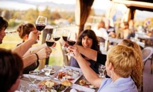 Visitors enjoy a tipple at Summerhill Pyramid Winery.