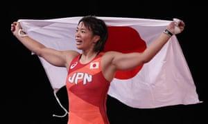 Risako Kawai celebrates after her victory over Iryna Kurachkina.