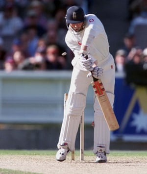 CRICKET Atherton duck 3England's Michael Atherton is bowled out for a duck.