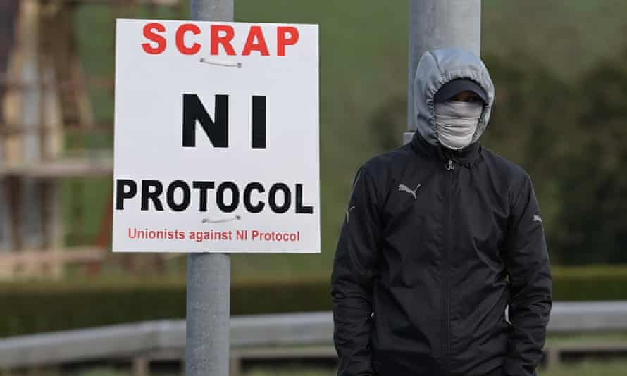 Loyalists hold an anti Northern Ireland Protocol protest against the so-called Irish Sea border.