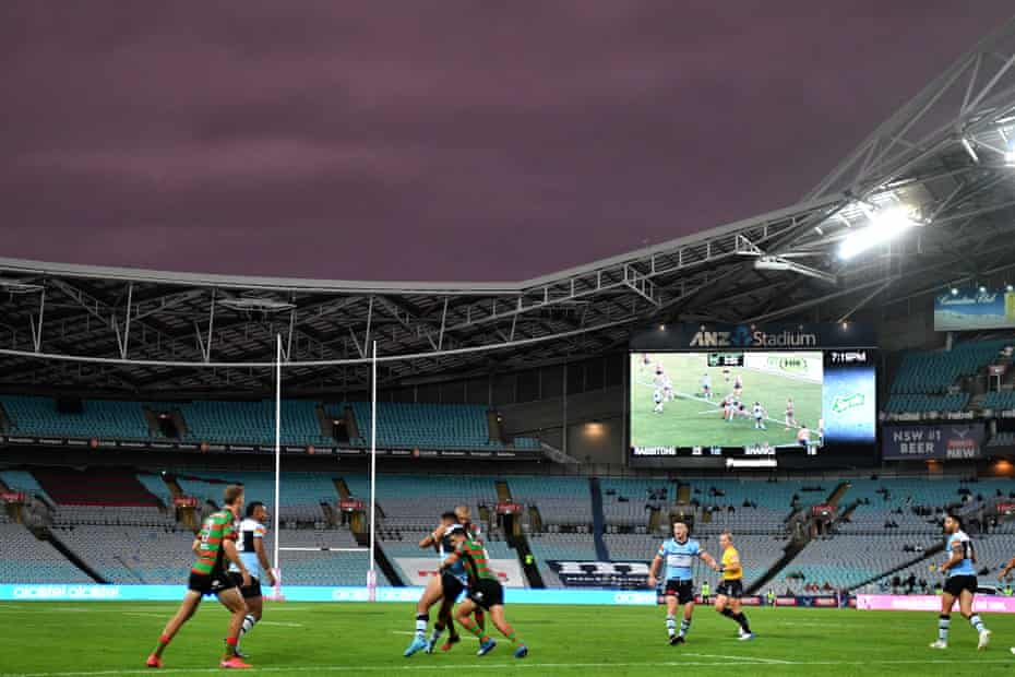 Round One NRL match between South Sydney Rabbitohs and Cronulla Sutherland Sharks at ANZ Stadium in Sydney, Saturday, March 14, 2020.