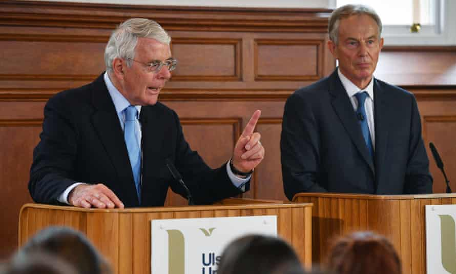 Major and Blair share a platform at the remain campaign event at Ulster University in Derry.