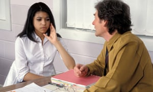 young girl talking to counsellor