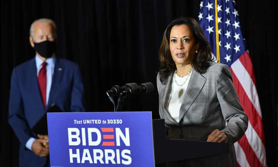 Kamala Harris speaks alongside Joe Biden in Wilmington, Delaware, on 13 August 2020.