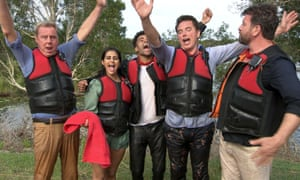 Harry Redknapp, Sair Khan, Malique Thompson-Dwyer, John Barrowman and Nick Knowles after the Lake Race challenge.