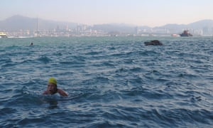 Miao Rong Lu, 68, swims in the sea at the Sai Wan Swimming Shed in Hong Kong, 5 October
