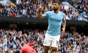 f62572787ce Sergio Aguero celebrates after scoring his hat-trick and Manchester City s  fifth.