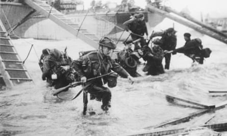 Royal Marines at Juno beach during the D-Day landings.