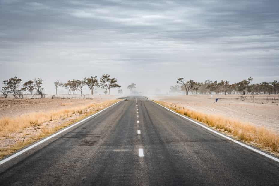 Australian road during a dust storm.