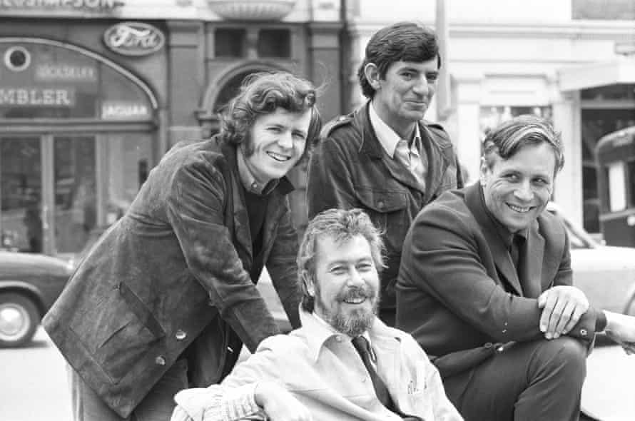 The Royal Court writers in 1971, clockwise from left: David Hare, Ted Whitehead, David Storey, John Osborne.