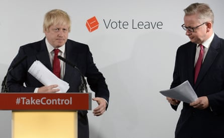 Brexit-supporting politicians Boris Johnson and Michael Gove at a press conference in June 2016