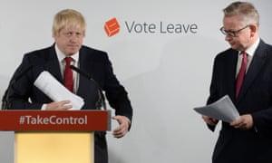 Former London Mayor Boris Johnson and Justice Secretary Michael Gove