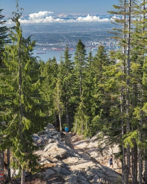 CANADA, Vancouver, British Columbia, The top of The Grind hike at Grouse Mountain, Vancouver city in the distance