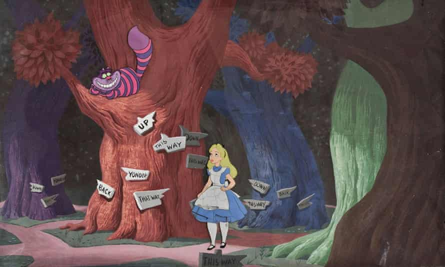 An animation cel from Alice in Wonderland (1951) exhibiting delamination of the paints, among the problems that afflict some of the historic cels in the collection of the Disney Animation Research Library.