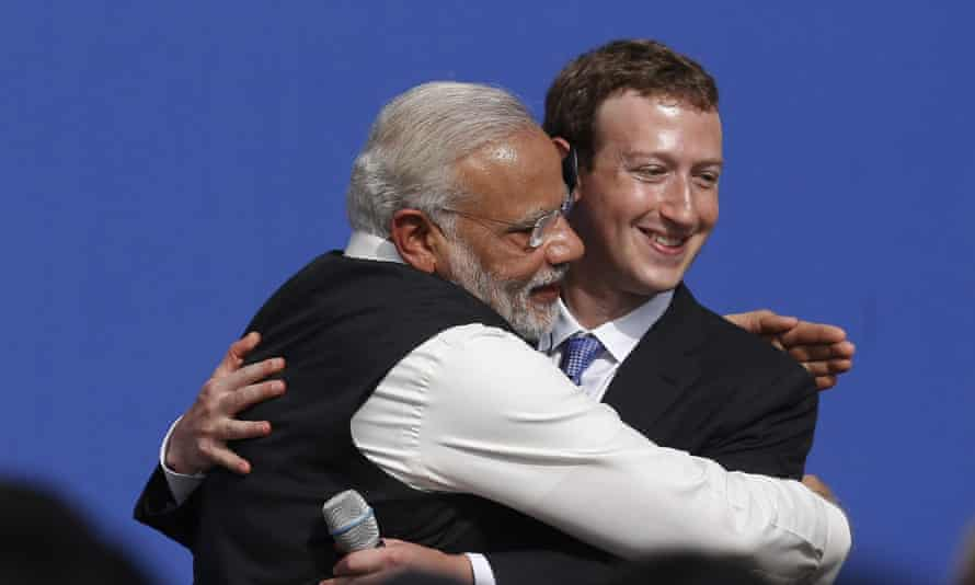 Indian prime minister Narendra Modi and Facebook chief Mark Zuckerberg praised the importance of internet access