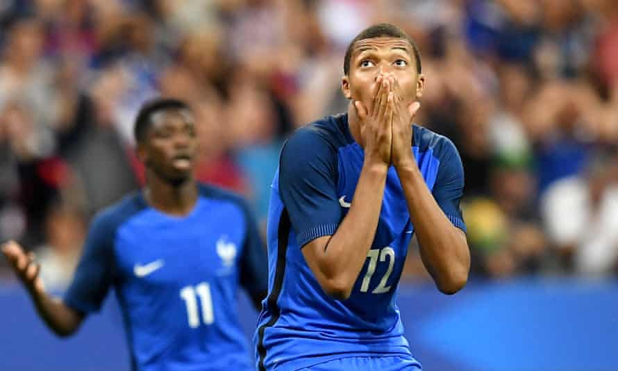 France striker Kylian Mbappé reacts after hitting the bar in the 3-2 win over England at the Stade de France in Paris
