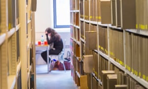 A student works in a library
