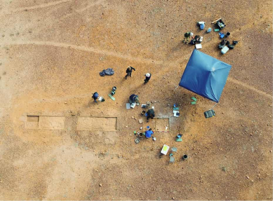 Excavations from above at Burke River, near Boulia in southwest Queensland