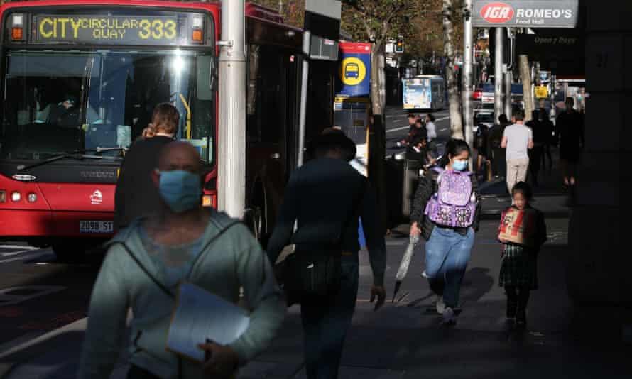 Sydney residents wearing masks