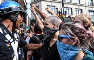 Counter protesters and police.