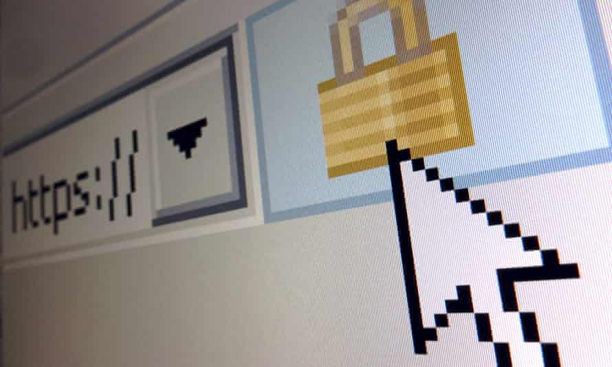 A lock icon, signifying an encrypted Internet connection, is seen on an Internet Explorer browser.
