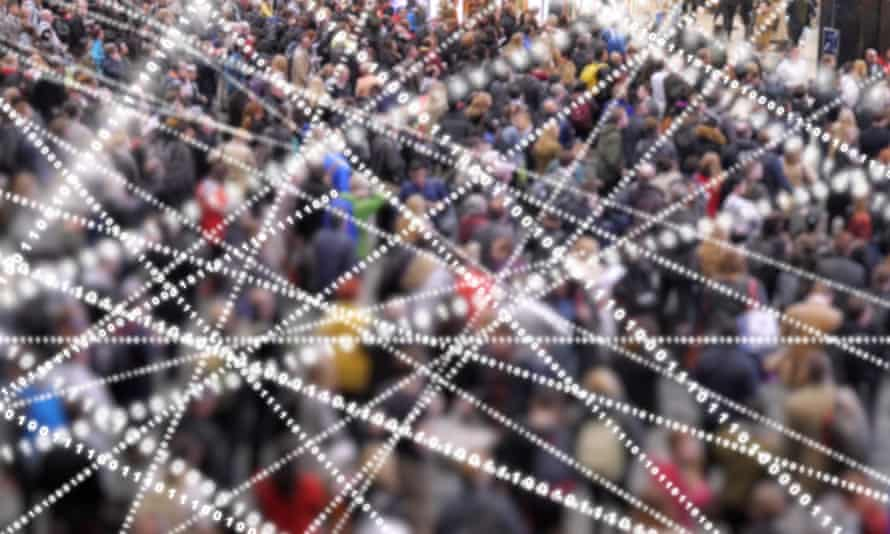 Crowd of people with streams of data flying around