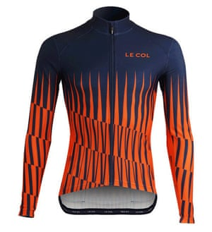 Le-Col-Aqua-Zero-Pinnacle-Long-Sleeve-Jersey in orange and blue with long sleeves