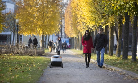 Starship Technologies' delivery robot can shuttle food and packages to destinations within a nearby radius.