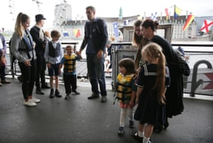 Brendan Cox, the Labour MP's husband, and their children Cuillin, five, and Lejla, three, arrive at Westminster Pier