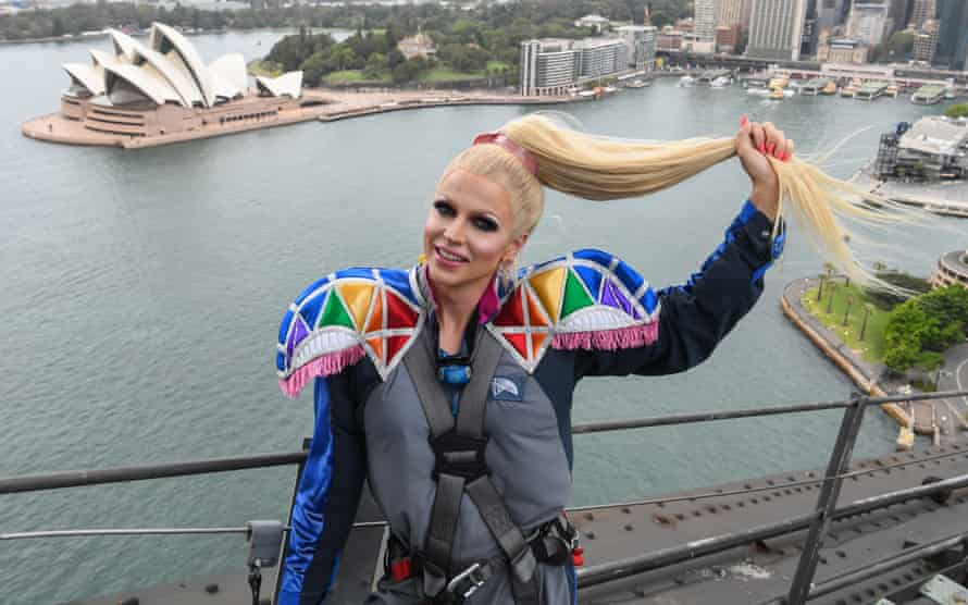 Courtney Act performs on top of the Sydney Harbour Bridge on 6 February.