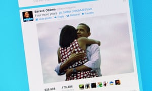 Photo of a computer screen showing Barack Obama's tweet after his re-election as US president