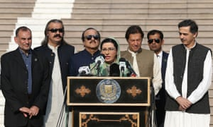 Firdous Ashiq Awan, centre, the special assistant to the prime minister for information and broadcasting, flanked by Imran Khan (third right).