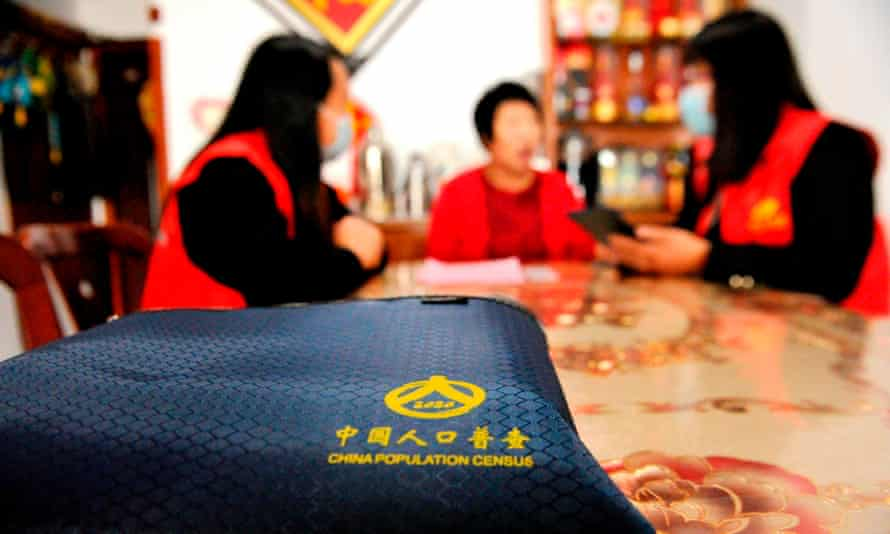 Census workers collect information in China's eastern Shandong province.