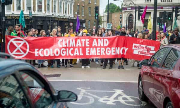 An Extinction Rebellion protest in Camden, London, in June; McDonnell has invited the group to brief his team.