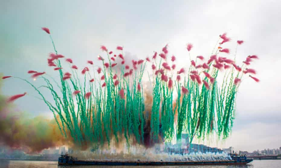 Explosive … one of Cai Guo-Qiang's creations in smoke.