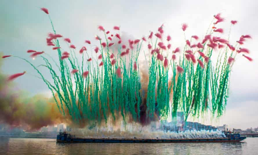 Artist Cai Guo-Qiang's Remembrance, on the riverfront of the Power Station of Art, 2014.