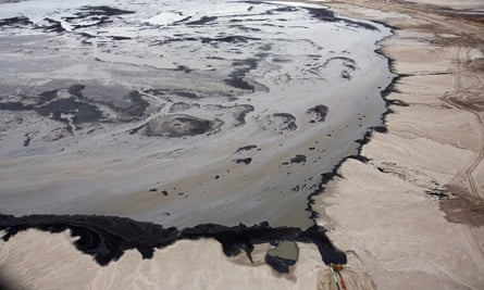 A Shell tailings pond at a tar sands operation near Fort McMurray, Alberta, Canada.