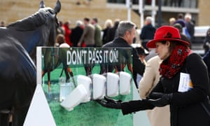 Hand sanitiser facilities at the Cheltenham Festival race meeting, a large event which went ahead this week despite coronavirus concerns.