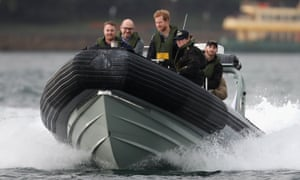 Prince Harry watches an Invictus Games Sydney 2018 sailing event on the harbour