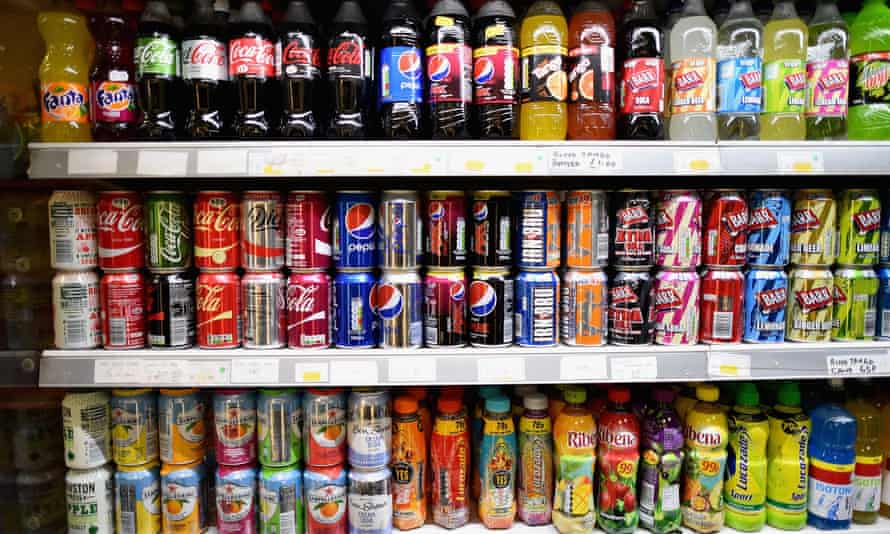 Soft drinks on the shelf in a shop.
