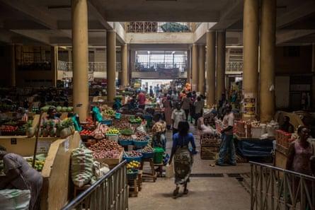 Food vendors working at the Gulu market during Uganda's coronavirus lockdown