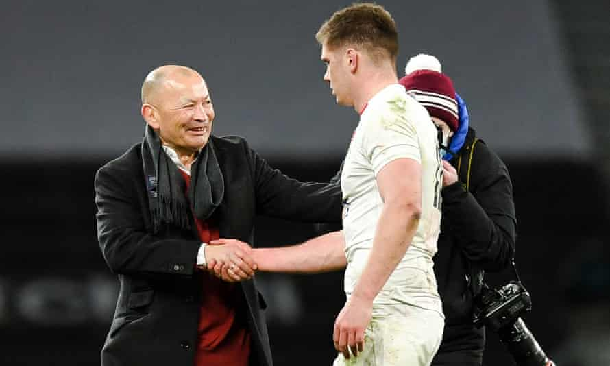 England's head coach Eddie Jones congratualtes his captain Owen Farrell after the thrilling win over France on Saturday
