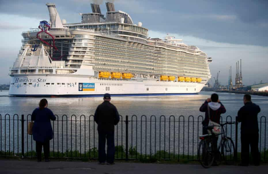 The world's largest cruise ship, MS Harmony of the Seas, arrives in Southampton port for her maiden voyage in 2016.