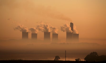 Steam rising from Lethabo power station at sunrise
